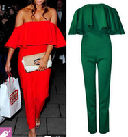 Polyester women ruffle pants - 2014 Hot Sale Fashion Women Ruffles Regular Sexy Brooke Jumpsuit Color Rompers Strapless Wave Piece Pants