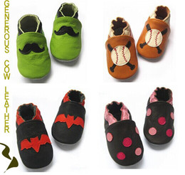 Wholesale M New COME GENUINE LEATHER shoes shoe sandals booties cow leather shoe soft sole prewalkers baby toddler infants leather shoes