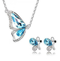 Earrings & Necklace earrings and necklace sets - Austrian crystal butterfly silver plated jewelry set full of diamond earrings and necklaces bracelets Set z135