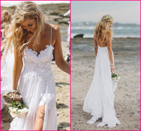 Other Reference Images Sweetheart Stunning Vintage Boho White Beach Low Back Wedding Dresses Gowns Chiffon Dreamy Spaghtti Straps Slit Short Lace in Front