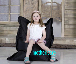 Wholesale Original Junior bean bag chair Children beanbag sofa lounge Kids sitzsack Waterproof floor cushion Black