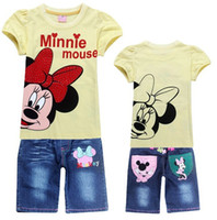 Wholesale sets Summer girls Minnie Mouse shirts jeans suit children T shirt hot pink light yellow colors