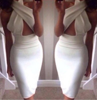 bodycon dresses - 2014 Fashion crossover V neck high waist cut out midi dress women sexy hollow out bodycon Party Dress
