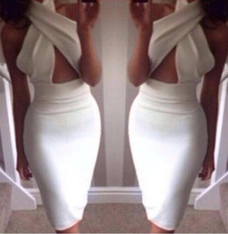 Wholesale 2014 Fashion crossover V neck high waist cut out midi dress women sexy hollow out bodycon Party Dress