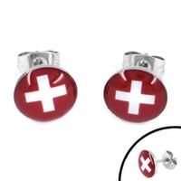 Wholesale Enamel Switzerland Flag Earrings World Cup Brazil Stainless Steel Jewelry Motor Earring Studs SJE370086