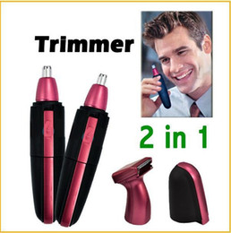 Wholesale 2 in1 Deluxe Red Facial Hair Beard Ear and Nose Trimmer Waterproof Shaver Groomer Clipper Cleaner