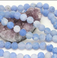 Wholesale 8mm Blue Fire Agate Gemstone Round Beads Matte Finish Strand