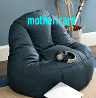 fabric adult bean bag chair - ADULTS Computer bean bag chair High back support beanbag lounge NAVY