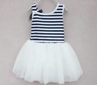 TuTu baby dress up clothe - New Girls Summer Tutu Lace Dresses baby clothing Striped kids cotton lace bow dresses Up Mix order EMS FEDEX DHL to AU US UK FR NL CA