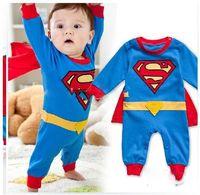 Unisex Spring / Autumn 100% Cotton Autumn clothing Free Shiping+4 sets lot Batman Superman Baby Romper Baby Dress Smock Baby Cloak Infant Costume