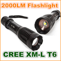 Wholesale NEW UltraFire Portable CREE XM L T6 LM LED Flashlight Zoomable Torch lamph for Camping trekking hunting fishing