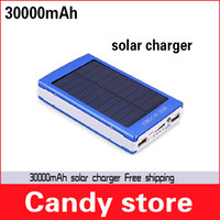 Wholesale 1pcs Free Ship Hot sell Trend Black mAh Solar Mobile Power Bank Backup Battery Solar Charger for GPS MP3 PDA Mobile Phone