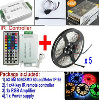 Holiday SMD 3528 Yes 5 x 5M Waterproof 5050 SMD RGB 60LEDs Meter LED Strips light+44key IR remote Controller+12v 20A power supply+RGB Amplifier+CABLE