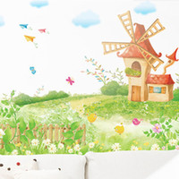 Graphic vinyl PVC Plant Free shipping New products for 2013 magic windmill garden vinyl decals removable wall decorate stickers 60*90CM SI6920