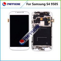 Wholesale For Samsung Galaxy S4 i9500 I545 I337 M919 L720 R970 White blue Touch LCD Screen Digitizer Frame Replacement Free DHL ship