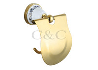 Wholesale Toilet Roll Holder Noble And Elegant Solid Copper And Ceramic Gold Plating Bathroom Paper Holder