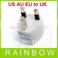 Wholesale 300pcs RA White Universal US AU EU to UK AC Power Plug Travel Adapter England UK Plug