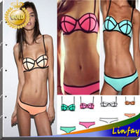 Women Bikinis Checkered 2014 New Arrival Fashion Bathing Suits Women's Swimsuit Neoprene Bikinis Sexy Swimwears Triangl Ladies Swimwear Push Up Bikini Swimming suit