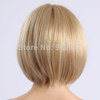 Blonde Straight Synthetic Hair NEW 2014,Heat Resistant Synthetic Bobo Blonde Short Wigs for Women straight beautiful golden party wigs