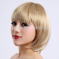 Blonde Straight Synthetic Hair Heat Resistant Synthetic Bobo Blonde Short Wigs for Women straight golden party wigs