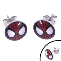 Unisex mask earrings - Enamel Spiderman Mask Earring Body Piercing Stainless Steel Jewelry Trendy Motor Earring Studs SJE370068