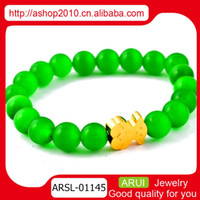 Wholesale Ms wild new fashion beaded bracelet green agate bracelet simple Teddy Bear