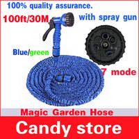 Wholesale 1pc Magic pipe Watering Irrigation FT M Hose with WATER GARDEN Pipe Green blue Water valve spray Gun With connector Garden Hoses Reels