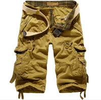 Wholesale 2014 Summer New Mens Military Shorts Loose Casual Cargo Pants Plus Size multi pocket pant JG5820