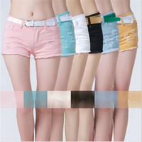 Shorts Women Capris Size 26-30 Wholesale Women Denim Shorts Ripped Hot Clubwear Pants Girls Casual Beach Jeans Trouser White Pink Black Blue 850186