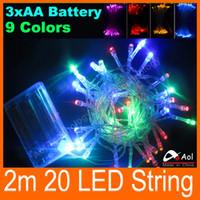 Рождественская вечеринка Хэллоуин батареи led String Light 2м 20 светодиодов 9 цветов фея света 3x AA батареи Бесплатная доставка
