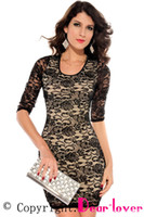 Casual Dresses V_Neck A Line new 2014 Black Nude Lace Keyhole Back Half Sleeves lace Dress LC2753 Free shipping print crochet blusa de renda spring