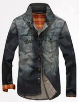 Men Polyester Shirts 2014 New Retro Brand Polo Men Denim Shirts High Quality Classic Jeans Casual Cowboy Clothes Plus Size M~XXL mcs101