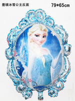 Wholesale 79cmx65cm mirror cartoon Frozen Princess Elsa Anna Aluminum Blowing Balloon For Children Days Party Decoration