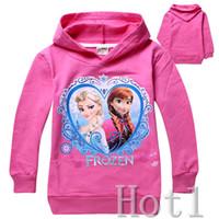 Unisex Spring / Autumn Hooded 3 Colors 2014 Frozen Baby Girls 2-8Yrs Elsa Anna Princess Hoodie Long Sleeve Terry Hooded Jumper Cartoon Hoodies Outerwear Kids Clothing