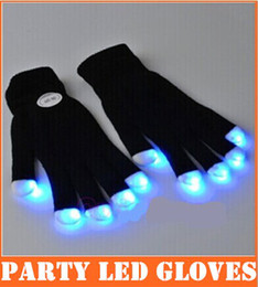 Wholesale 2pcs pair Party LED Gloves Rave Light Flashing Finger Lighting Glow Mittens Magic Black Gloves Party Accessory top sale