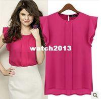 Cheap blouse Wholesale-2014 new spring hot crop top clothing blusas femininas European dudalina flounced chiffon sleeveless tops for women