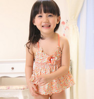 Wholesale NWT Children Girls Swimwear Piece Set Floral Print Swim Cap Gallus Tank Top Swinmming Trunks Set Kid Girl Beachwear Flower C2475