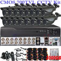 al por mayor 2tb 16 canales cctv dvr-Disco duro cctv 16CH kit de seguridad de sistema de monitor de vigilancia completa red de 16 canales grabador de vídeo digital D1 HD DVR HDMI 2TB HDD
