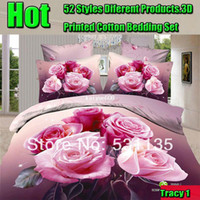 Cheap China rose bedding set 3d printing 4pc Comforters Duvet Quilt bedclothes Cover set bed linen cotton for Queen size free shipping