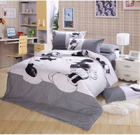 Wholesale Top selling Happy Mickey Minnie Mouse Bedding Doona Duvet Cover Set Full Queen Cotton White Black EME
