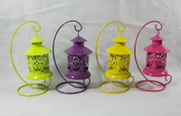 Wholesale Mixed color Zakka Decorative Metal Bird Cage Candle Resin Bird Wrought Iron Candle Holders For Wedding Home Decoration