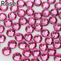 Wholesale Rose High Quality FlatBack Non Hot Fix Rhinestones Nail Art SS5 SS6 SS8 SS10 SS12 SS16 SS20