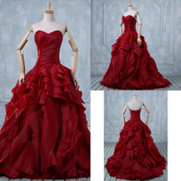 Wholesale 2015 Burgundy Wedding Dresses Sweetheart Ball Gown Floor Length Real Sample Lace up Ruched Organza Prom Evening Gown Bridal Gown AL060503