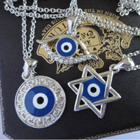 Wholesale Silver Rhinestone Turkey Blue Evil Eye Star Pendant girls necklace fashion women Faith jewelry Gift