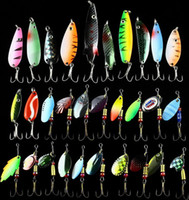 Wholesale Hot Fishing Lure Mixed color Size Weight Hook Metal Spoon Lures hard bait fishing tackle spinner bait Free Ship