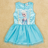 Wholesale nova Summer new fashion frozen girls dresses cartoon movie nobile elsa dress tulle sleeveless soft silk Satin dress baby clothes H5222