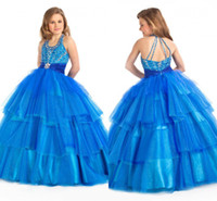 Reference Images Girl Beads Sparkling Beaded Halter Neckline Girl's Pageant Dresses 2014 New Ball Gown Blue Color Girl's Formal Dresses Flower Girl Dress AA19