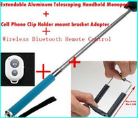 Wholesale Remote Control Bluetooth Remote Camera Control Self timer Shutter Phone Clip Camera Monopod For iPhone Samsung Android IOS