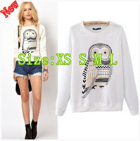 Wholesale QT54 New women autumn winter women lie fallow cartoon owl cotton t shirt hoodie coat women clothing