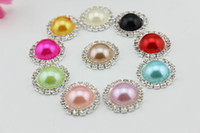 Wholesale 20mm flat back crystal pearl button Metal rhinestone buttons diamante button in Sliver DIY hair accessory color